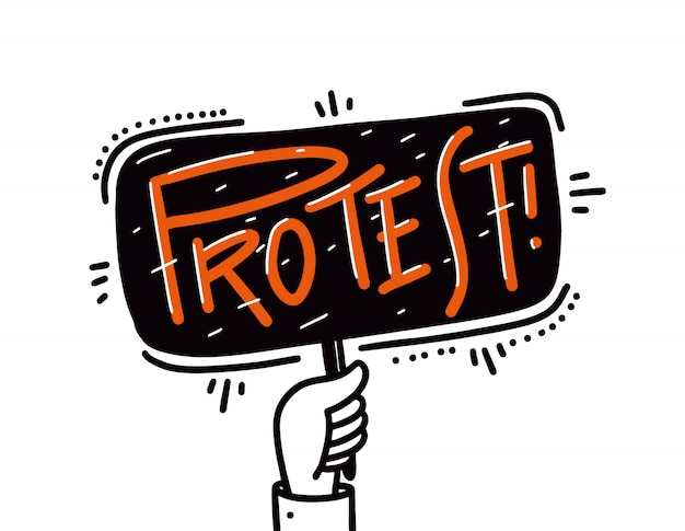 Mãos segurando um protesto. isolado no fundo branco Vetor Premium