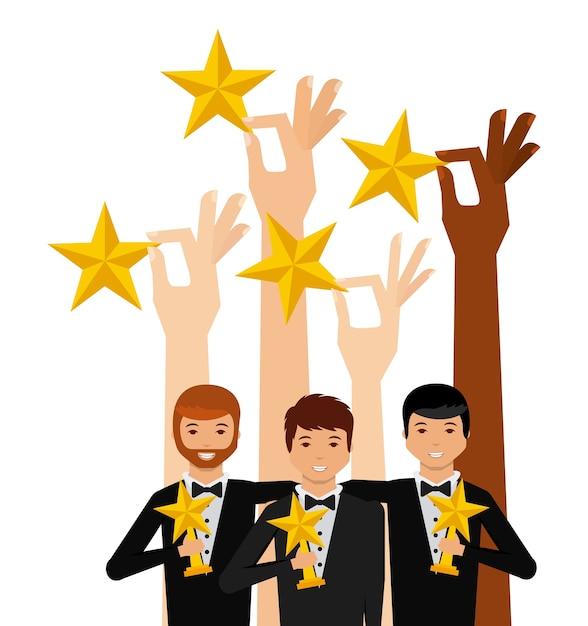 Mãos segurando uma estrelas douradas e grupo de atores Vetor Premium