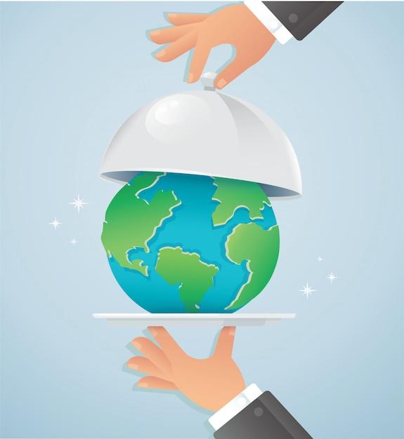 Mãos segurando uma prata cloche com terra. dia mundial da comida Vetor Premium