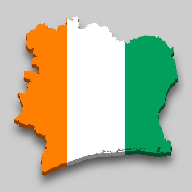 Mapa 3d da costa do marfim com a bandeira nacional. Vetor Premium