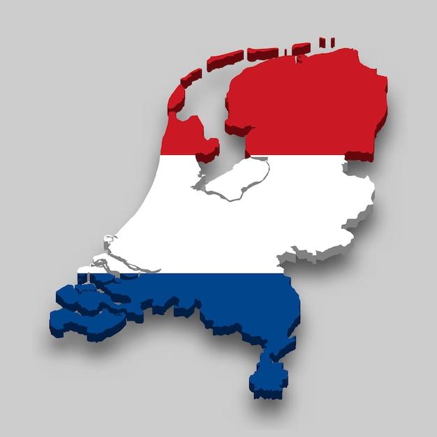 Mapa 3d da holanda com a bandeira nacional. Vetor Premium