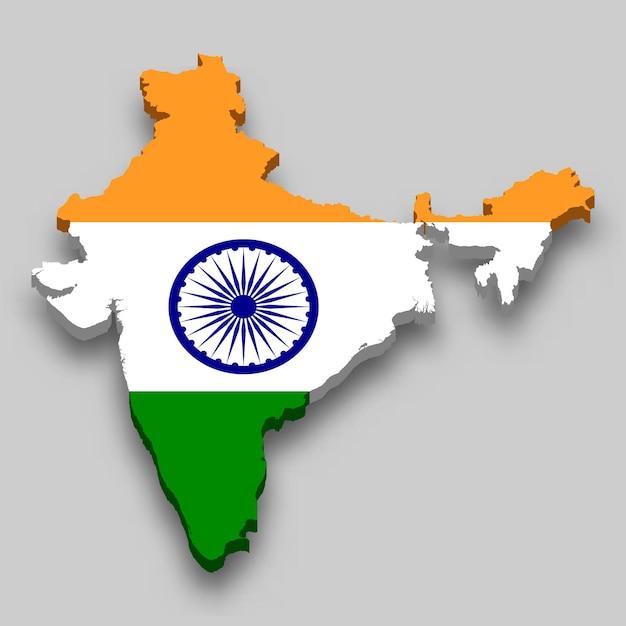Mapa 3d da índia com a bandeira nacional. Vetor Premium