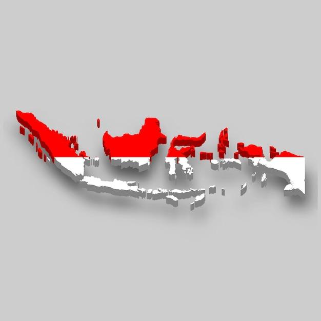 Mapa 3d da indonésia com a bandeira nacional. Vetor Premium