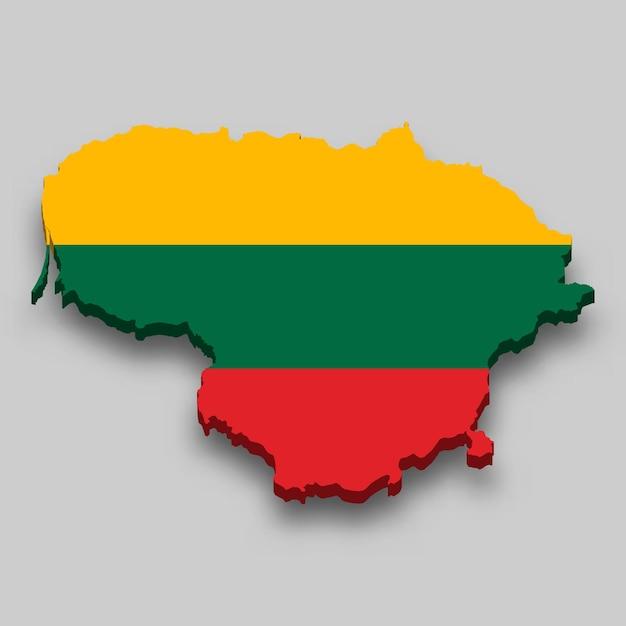 Mapa 3d da lituânia com a bandeira nacional. Vetor Premium