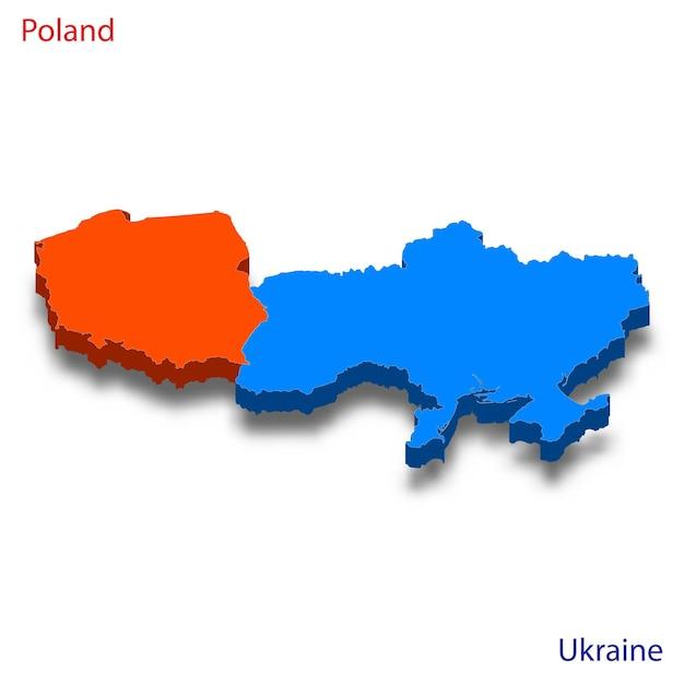 Mapa 3d das relações entre a polônia e a ucrânia Vetor Premium