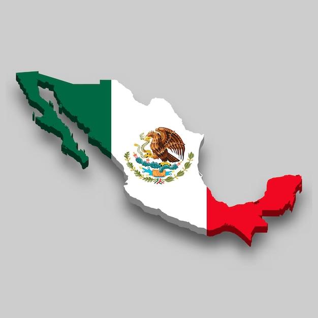 Mapa 3d do méxico com a bandeira nacional. Vetor Premium