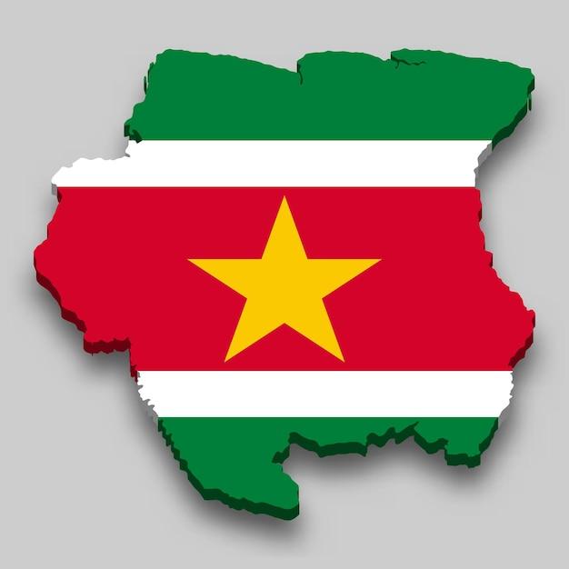 Mapa 3d do suriname com a bandeira nacional. Vetor Premium