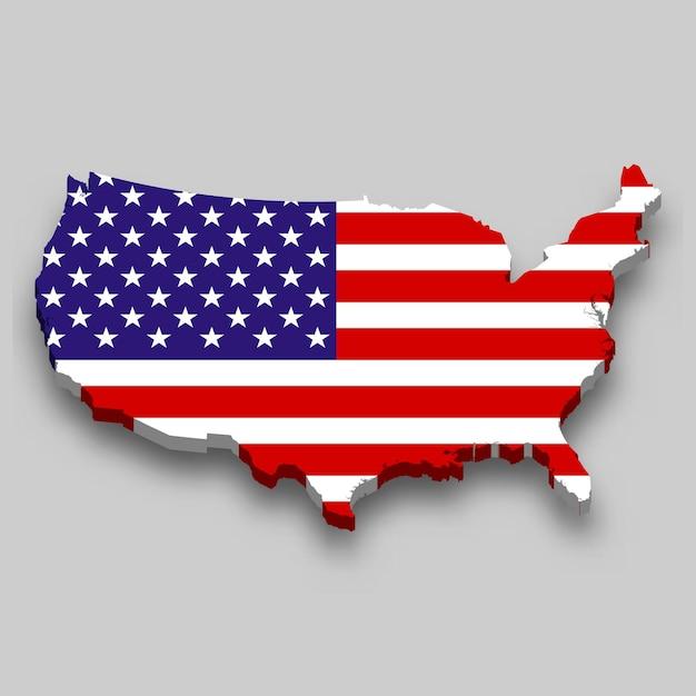 Mapa 3d dos estados unidos com a bandeira nacional. Vetor Premium