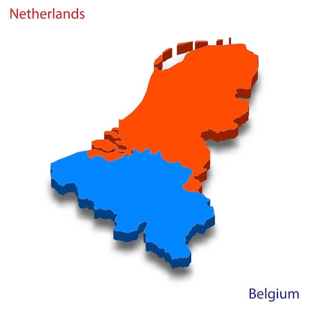 Mapa 3d relações com a holanda e a bélgica Vetor Premium
