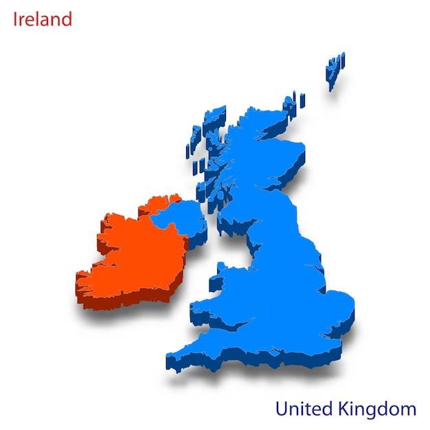 Mapa 3d, relações entre a irlanda e o reino unido Vetor Premium