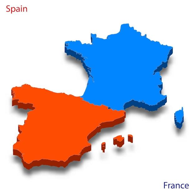Mapa 3d relações entre espanha e frança Vetor Premium