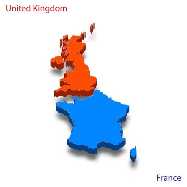 Mapa 3d relações entre o reino unido e a frança Vetor Premium