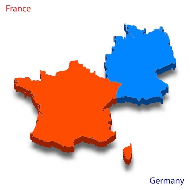 Mapa 3d relações frança e alemanha Vetor Premium