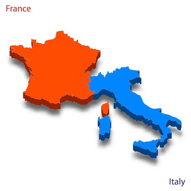 Mapa 3d relações frança e itália Vetor Premium