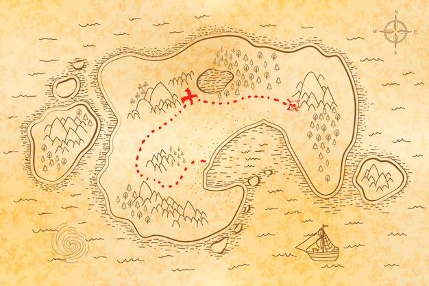 Mapa antigo do pirata no papel velho com trajeto vermelho ao tesouro Vetor Premium