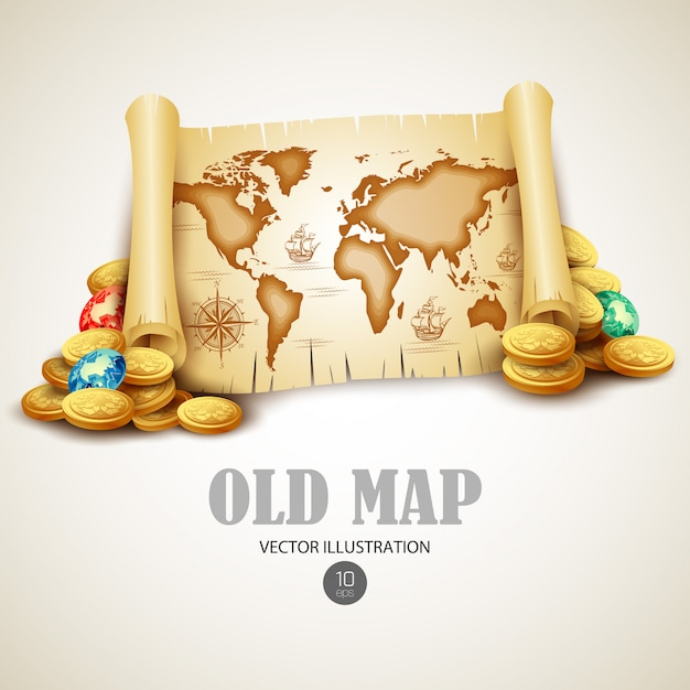 Mapa antigo. ilustração Vetor Premium