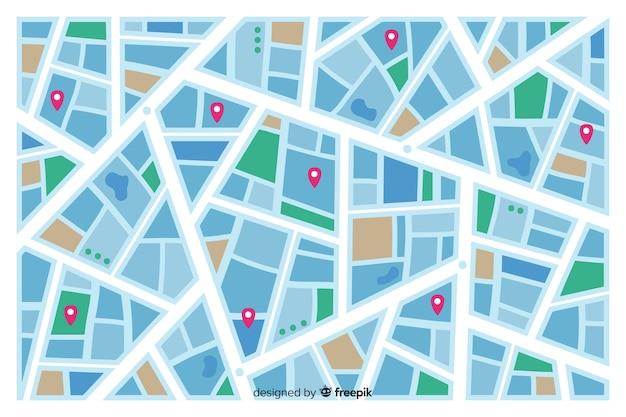 Mapa colorido da cidade indicando rotas de ruas Vetor grátis