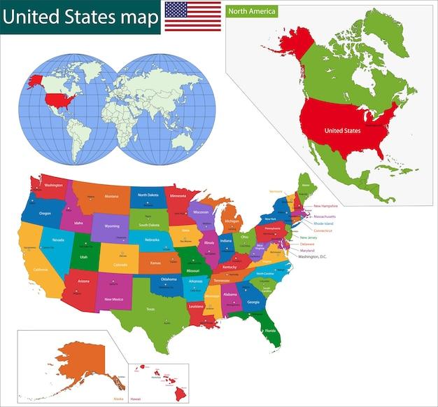 Mapa colorido dos eua Vetor Premium