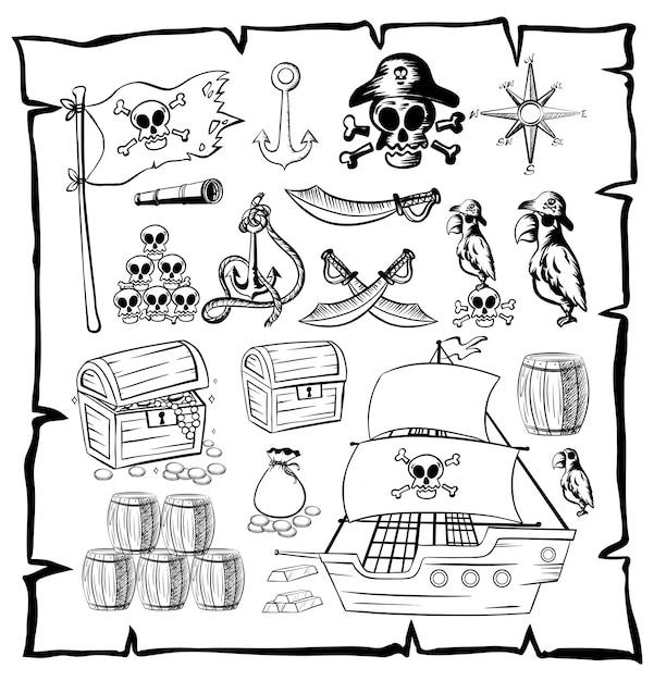 Mapa Com Símbolos Piratas