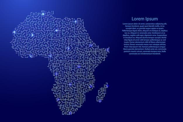 Mapa da áfrica continental do padrão azul da grade do labirinto e da grade de estrelas brilhantes do espaço. Vetor Premium