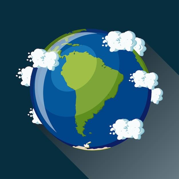 Mapa da américa do sul no planeta terra Vetor Premium