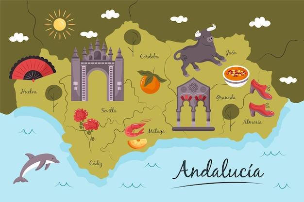 Mapa da andaluzia com conceito de monumentos Vetor grátis