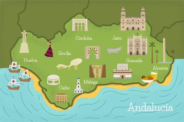 Mapa da andaluzia com pontos de referência Vetor grátis