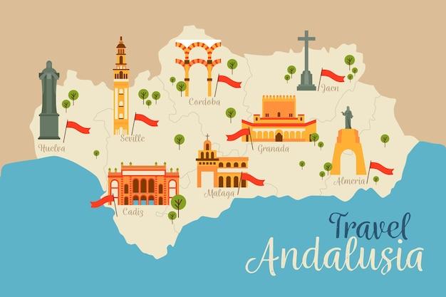 Mapa da andaluzia com seus pontos de referência Vetor grátis