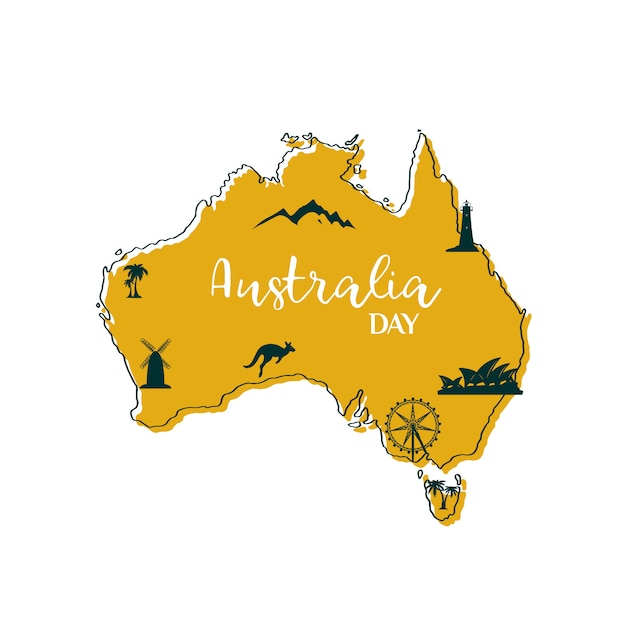 Mapa da austrália. Vetor Premium