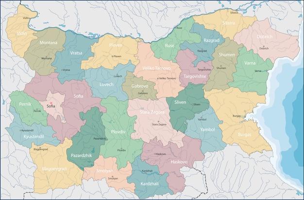 Mapa da bulgária Vetor Premium