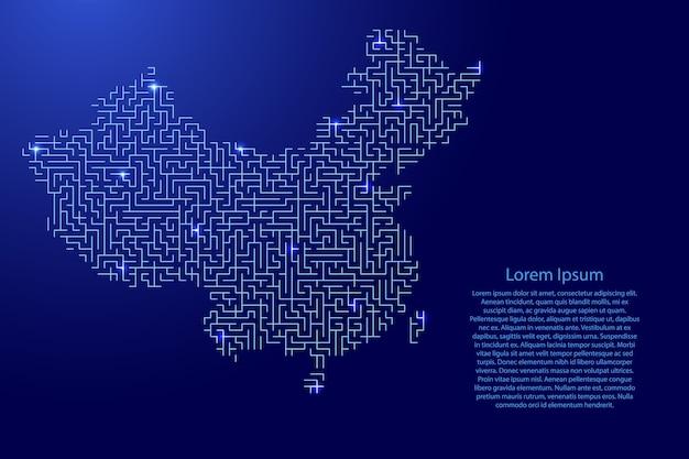 Mapa da china do padrão azul da grade do labirinto e da grade de estrelas brilhantes do espaço. Vetor Premium