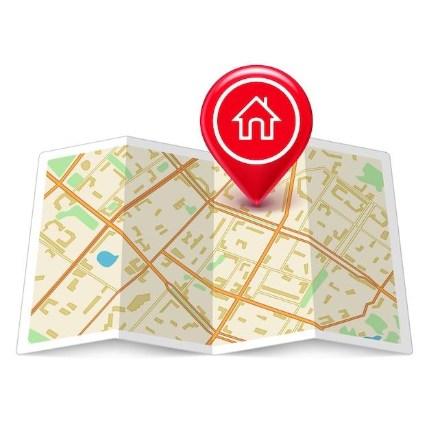 Mapa da cidade com marcador de página inicial Vetor grátis
