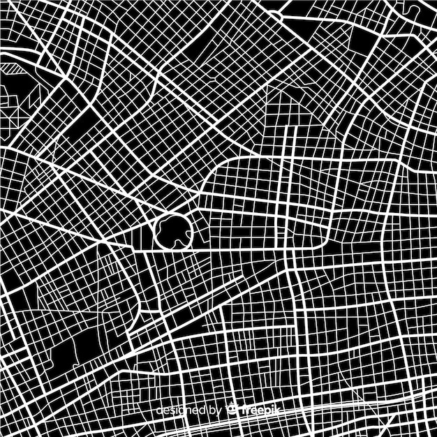 Mapa da cidade de preto e branco com rota de ruas Vetor grátis