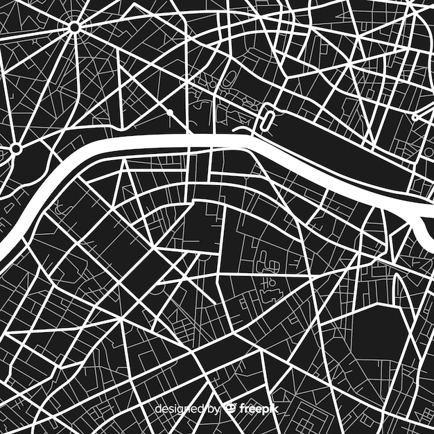 Mapa da cidade em preto e branco digital Vetor grátis