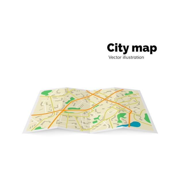 Mapa da cidade: ruas, avenidas, edifícios, parques. ilustração Vetor Premium