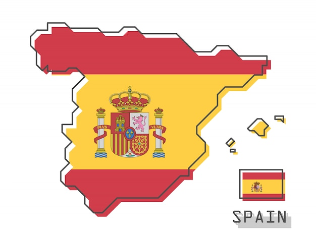 Mapa da espanha e bandeira Vetor Premium