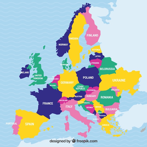 Mapa Da Europa Com Paises De Cores Vetor Gratis