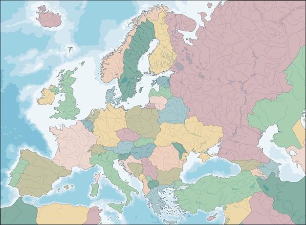 Mapa da europa Vetor Premium