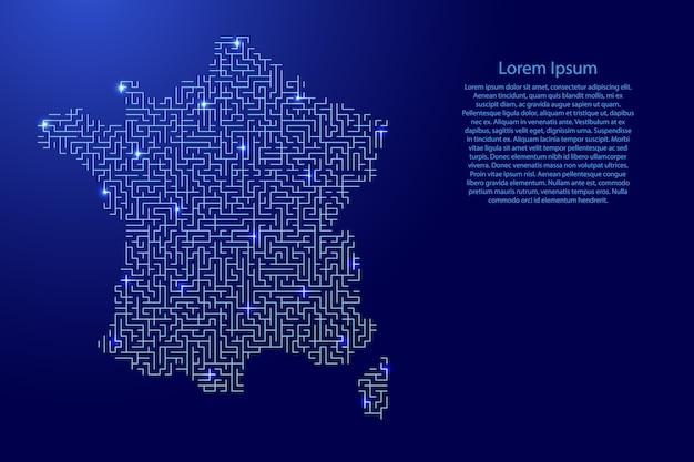 Mapa da frança do padrão azul da grade do labirinto e da grade de estrelas brilhantes do espaço. Vetor Premium