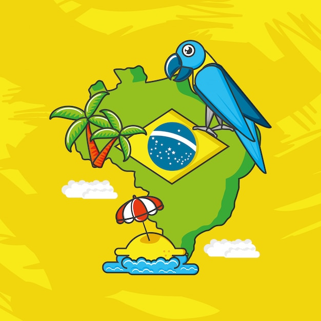 Mapa da ilustração do brasil Vetor Premium