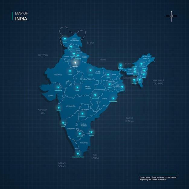 Mapa da índia com pontos de luz de néon azul - triângulo em gradiente azul escuro Vetor Premium