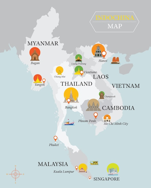 Mapa da indochina com marcos da capital nacional Vetor Premium