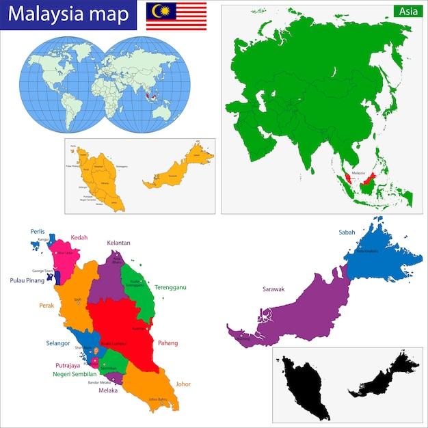 Mapa da malásia Vetor Premium