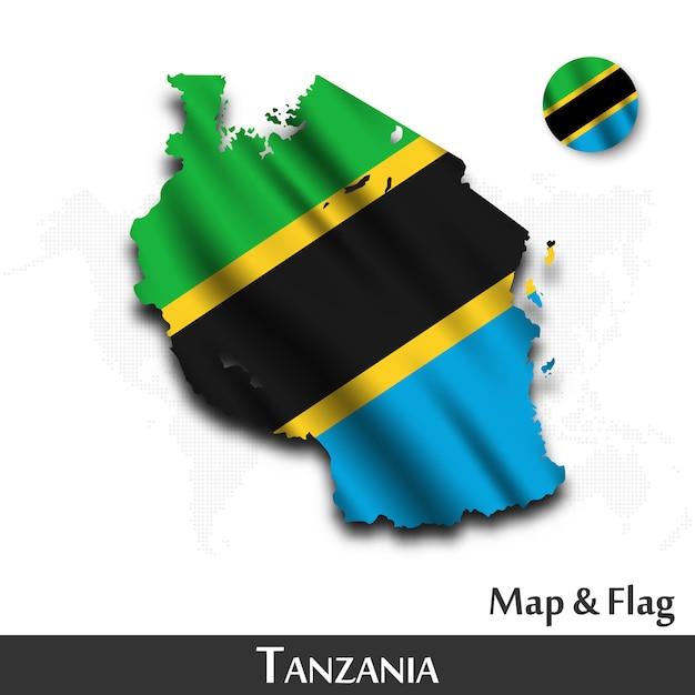 Mapa da tanzânia e bandeira. acenando design têxtil. fundo de mapa do mundo ponto. Vetor Premium