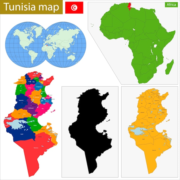 Mapa da tunísia Vetor Premium
