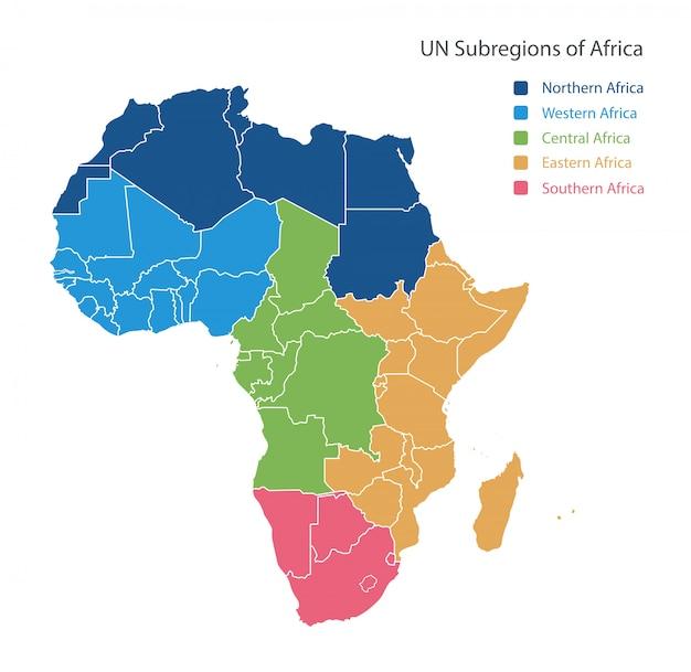 Mapa das regiões da unsd da áfrica. Vetor Premium