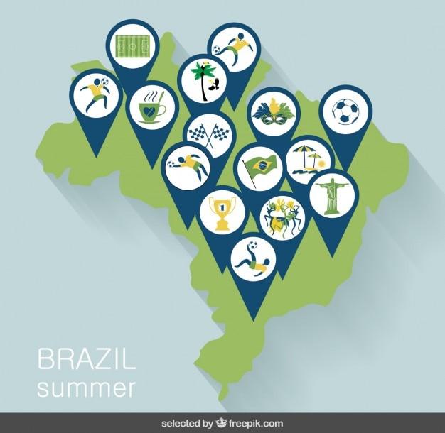 Mapa de brasil com pinos desportivo Vetor grátis