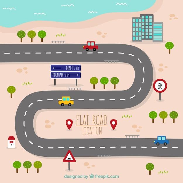 Mapa de estrada em design plano Vetor grátis