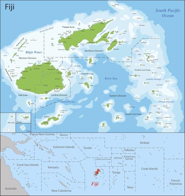 Mapa de fiji Vetor Premium