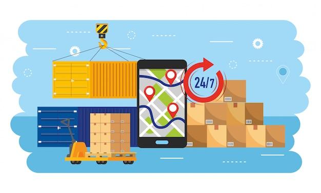 Mapa de gps para smartphone com pacotes de contêineres e caixas Vetor Premium